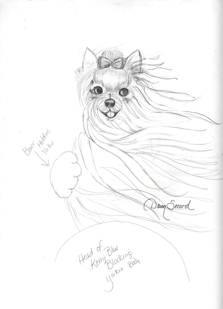 Yorkie cover sketch with signature