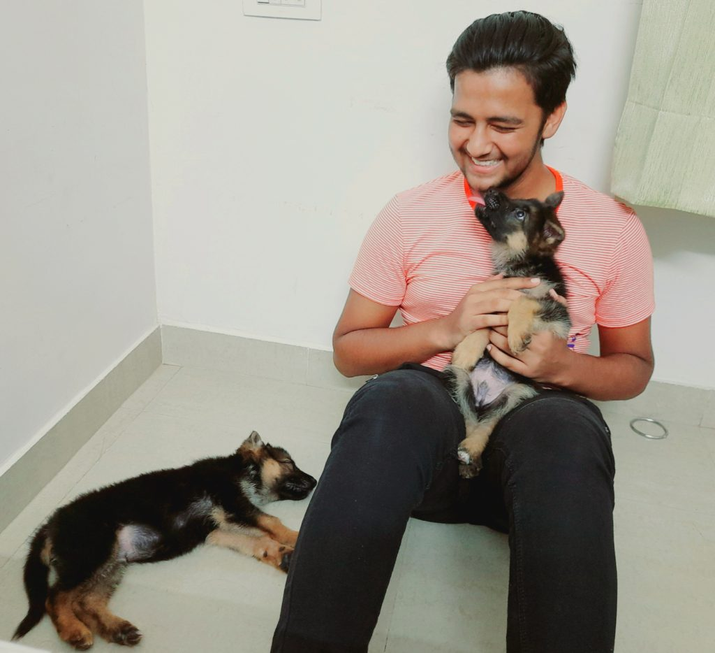 young man with puppies